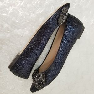 Tory Burch Shoes - Tory Burch 'Esme' snake leather crystal bow flats